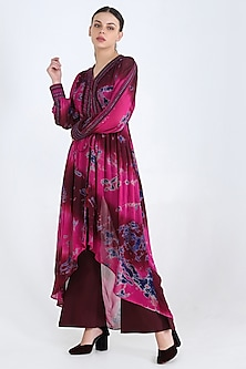 Fuschia Embroidered Tunic Set by Pinnacle By Shruti Sancheti-PINNACLE BY SHRUTI SANCHETI