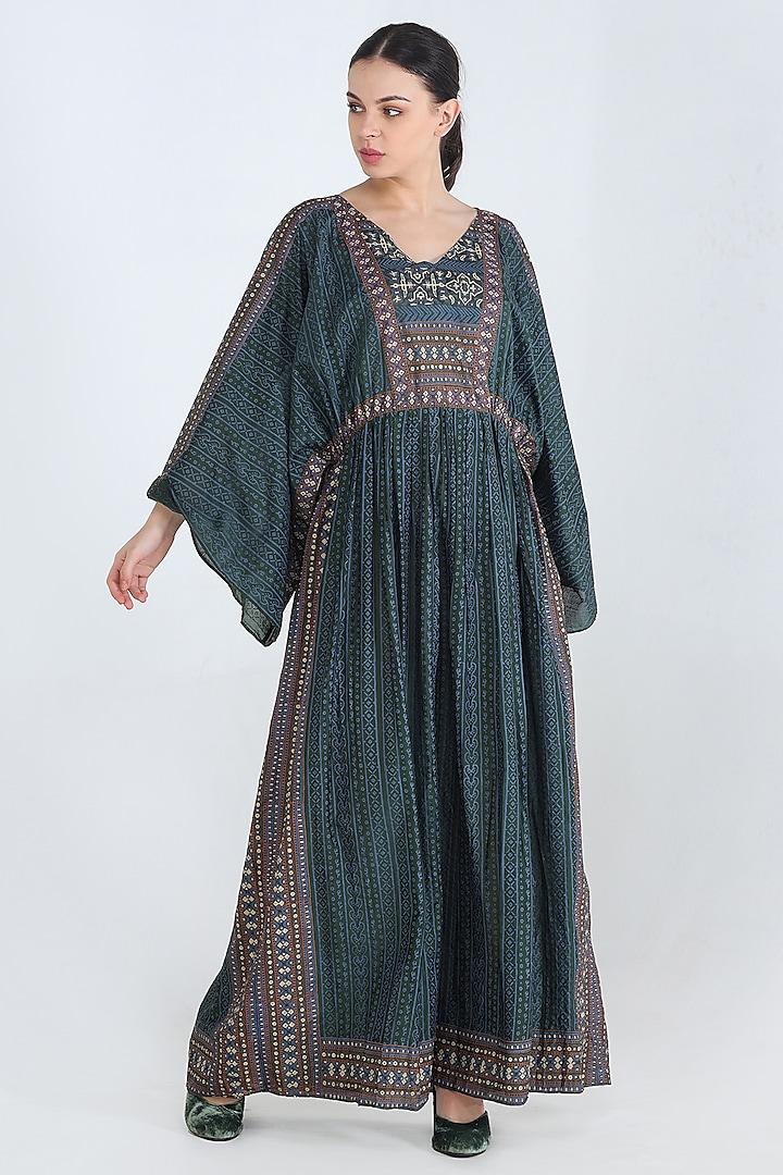 Green Printed Kaftan Maxi Dress by Pinnacle By Shruti Sancheti