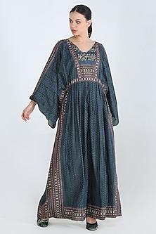 Green Printed Kaftan Maxi Dress by Pinnacle By Shruti Sancheti-PINNACLE BY SHRUTI SANCHETI