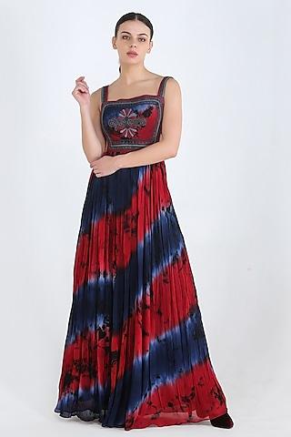 Blue Tie & Dye Embroidered Maxi Dress by Pinnacle By Shruti Sancheti