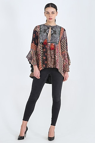 Multi Colored Top With Printed Belt by Pinnacle By Shruti Sancheti