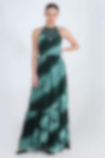 Green Tie & Dye Maxi Dress by Pinnacle By Shruti Sancheti