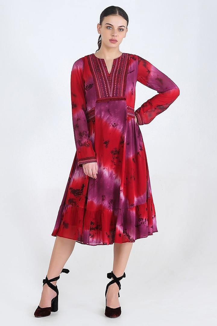Red Tie & Dye Tunic by Pinnacle By Shruti Sancheti