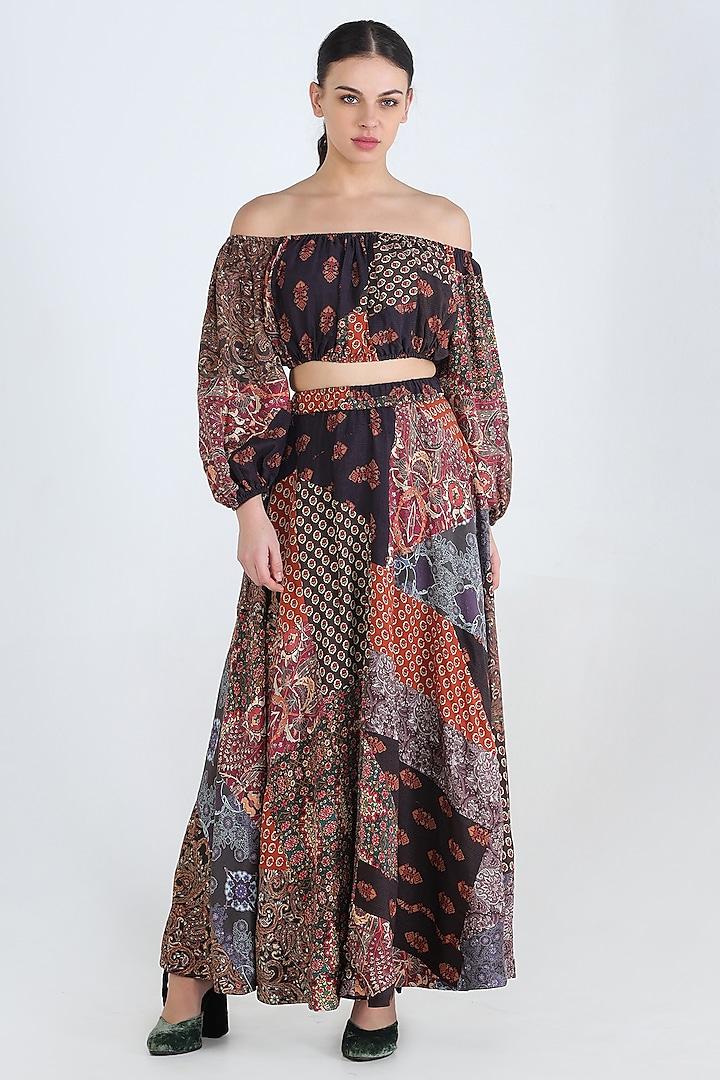 Multi Colored Reversible Skirt by Pinnacle By Shruti Sancheti