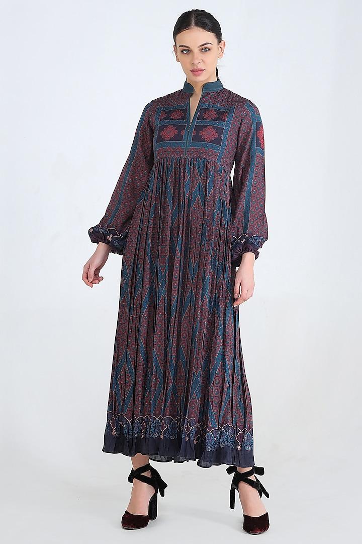 Blue Printed & Gathered Dress by Pinnacle By Shruti Sancheti