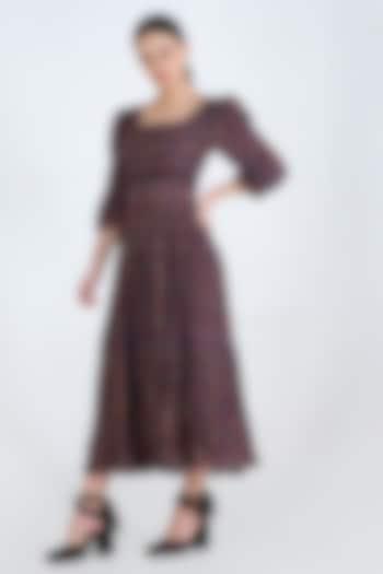 Purple Printed Midi Dress by Pinnacle By Shruti Sancheti