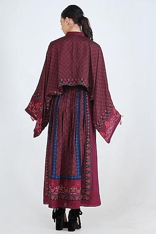 Plum Printed Skirt Set by Pinnacle By Shruti Sancheti