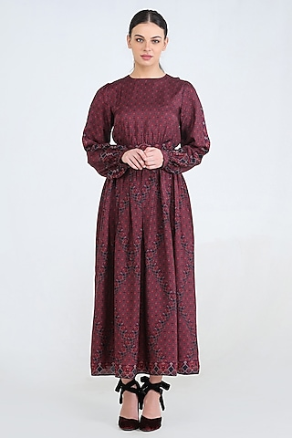 Plum Printed Dress With Belt by Pinnacle By Shruti Sancheti
