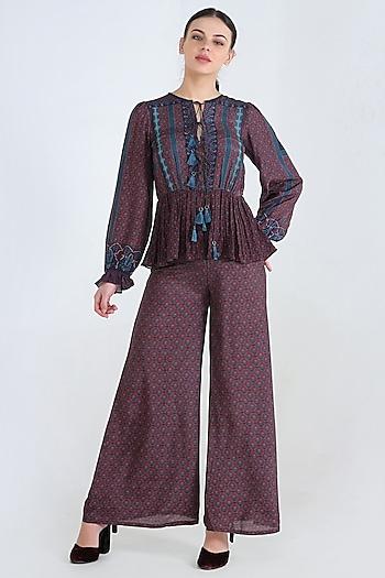 Blue Printed Pants Set by Pinnacle By Shruti Sancheti