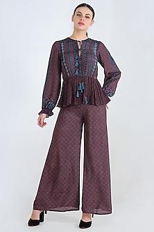 Blue Printed Pants Set by Pinnacle By Shruti Sancheti-PINNACLE BY SHRUTI SANCHETI