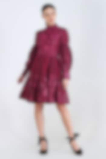 Plum Printed Dress With Lace Detailing by Pinnacle By Shruti Sancheti