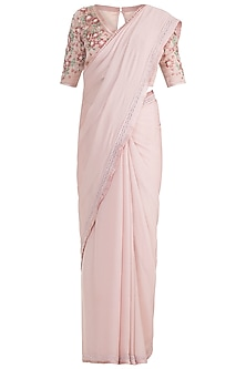 Apple Blossom Embroidered Saree Set by Pinnacle By Shruti Sancheti