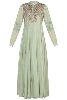 Mint Green Embroidered Anarkali With Slip by Pinnacle By Shruti Sancheti