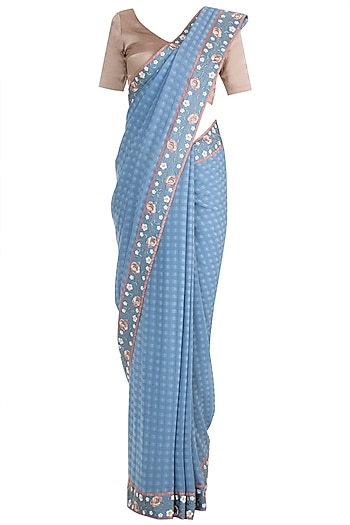 Periwrinkle Blue Embroidered Saree Set by Pinnacle By Shruti Sancheti