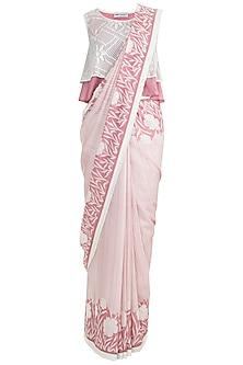 Onion Pink Printed Saree Set by Pinnacle By Shruti Sancheti