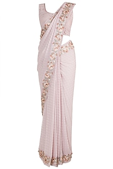 Pink Embroidered Saree Set by Pinnacle By Shruti Sancheti