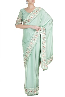 Mint Green Embroidered Saree set by Pinnacle By Shruti Sancheti