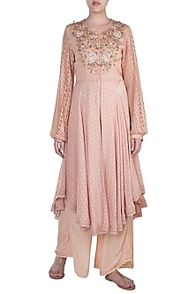 Apricot Hand Embroidered Kurta With Pants by Pinnacle By Shruti Sancheti
