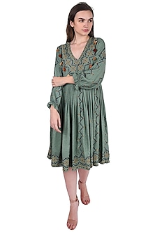 Emerald Green Embroidered Maxi Dress by Pinnacle By Shruti Sancheti