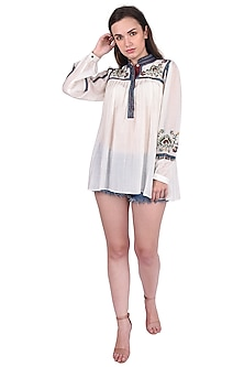 White Floral Embroidered Top by Pinnacle By Shruti Sancheti