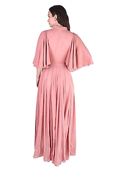 Onion Pink Embroidered Dress by Pinnacle By Shruti Sancheti
