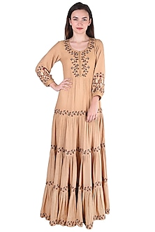 Beige Embroidered Maxi Dress by Pinnacle By Shruti Sancheti