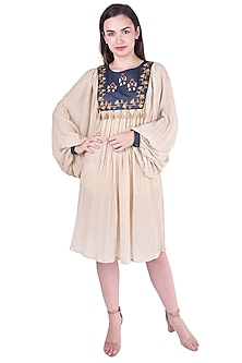 Beige Cross Stitch Embroidered Dress by Pinnacle By Shruti Sancheti
