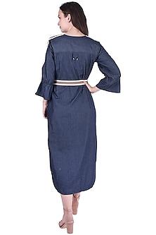 Navy Blue Dress With Belt by Pinnacle By Shruti Sancheti