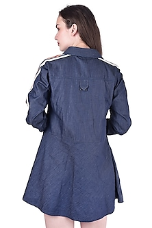 Navy Blue Jacket With Lace Detailing by Pinnacle By Shruti Sancheti