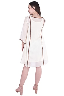 White Tribal Embroidered Dress by Pinnacle By Shruti Sancheti