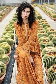 Ocher Embroidered Tiered Dress by Pinnacle By Shruti Sancheti