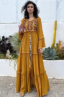 Mustard Embroidered Front Open Dress by Pinnacle By Shruti Sancheti