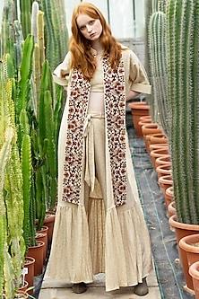 Ecru Embroidered Jacket Set by Pinnacle By Shruti Sancheti