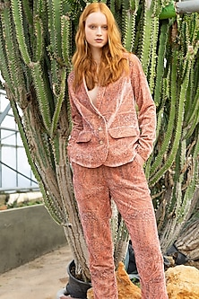 Pink Printed Blazer Set by Pinnacle By Shruti Sancheti-PINNACLE BY SHRUTI SANCHETI