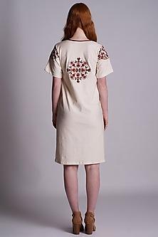 Ekru Machine Embroidered Tunic by Pinnacle By Shruti Sancheti
