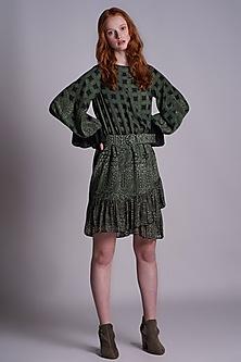 Green Printed Mini Dress by Pinnacle By Shruti Sancheti