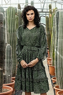 Green Printed Ruflled Dress by Pinnacle By Shruti Sancheti