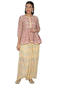 Pastel Yellow Printed Peplum Top With Pants by Pinnacle By Shruti Sancheti