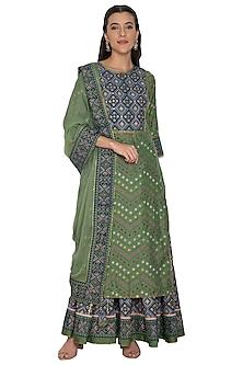 Green & Blue Printed Kurta Set by Pinnacle By Shruti Sancheti