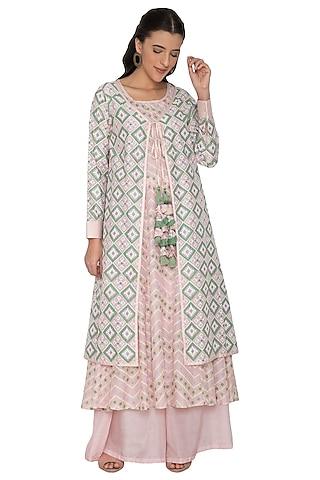 Pink & Green Patola Jacket With Kalidar Inner & Palazzo Pants by Pinnacle By Shruti Sancheti