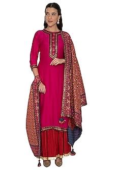 Pink & Red Embroidered Sharara Set by Pinnacle By Shruti Sancheti