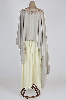 Grey Embroidered Kaftan With Dhoti Pants by Prisho