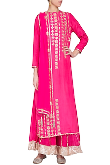 Pink embroidered sharara pants set by Priyanka Singh