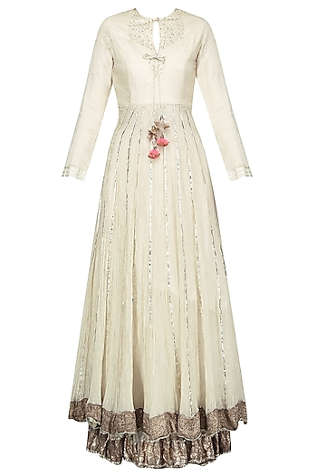 Off White Embroidered Double Layer Anarkali Set by Priyanka Singh