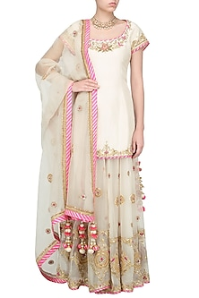 Off White and Pink Embroidered Sharara Set by Priyanka Singh