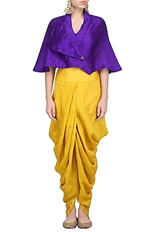 Purple Wrapped Cape with Mustard Dhoti Pants by Priyanka Singh