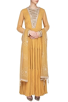 Mustard Embroidered Tiered Kurta With Dupatta by Priyanka Singh