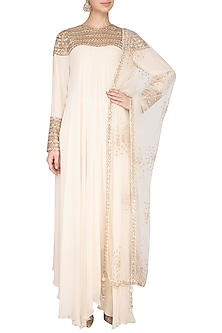 Off White Embroidered Kurta Set by Priyanka Singh