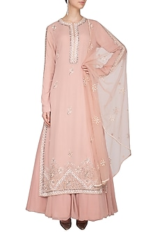 Blush Pink Embroidered Lehenga Set by Priyanka Singh