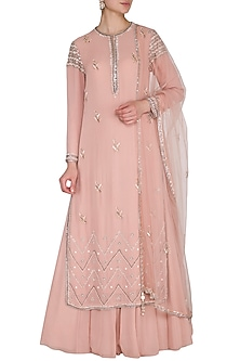 Peach Embroidered Lehenga Set by Priyanka Singh